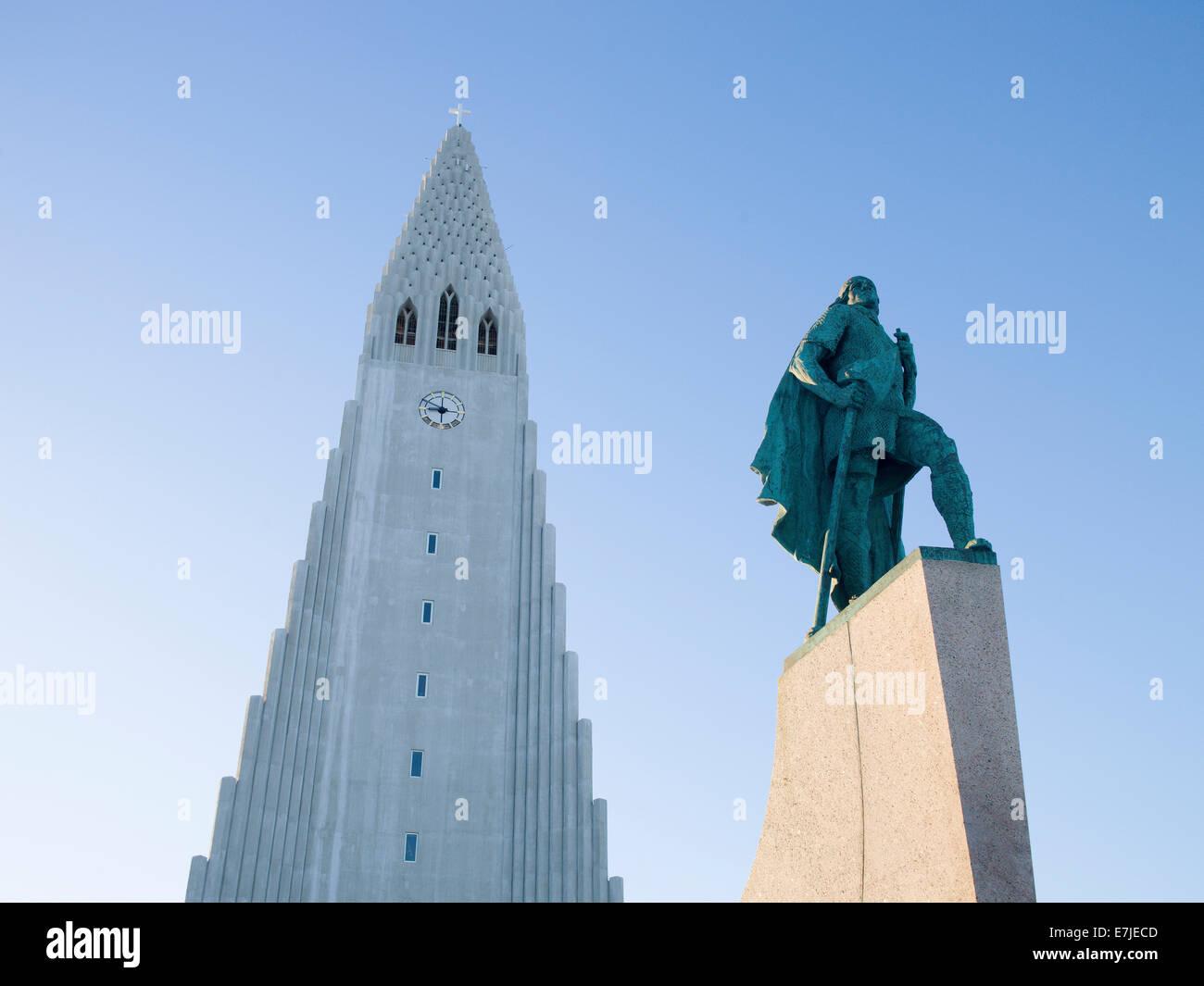Denkmal, Entdecker, Forscher, Hallkrim, Capital, Insel, Island, Europa, Kirche, Nordeuropa, Reykjavik, Seemann, Stockbild