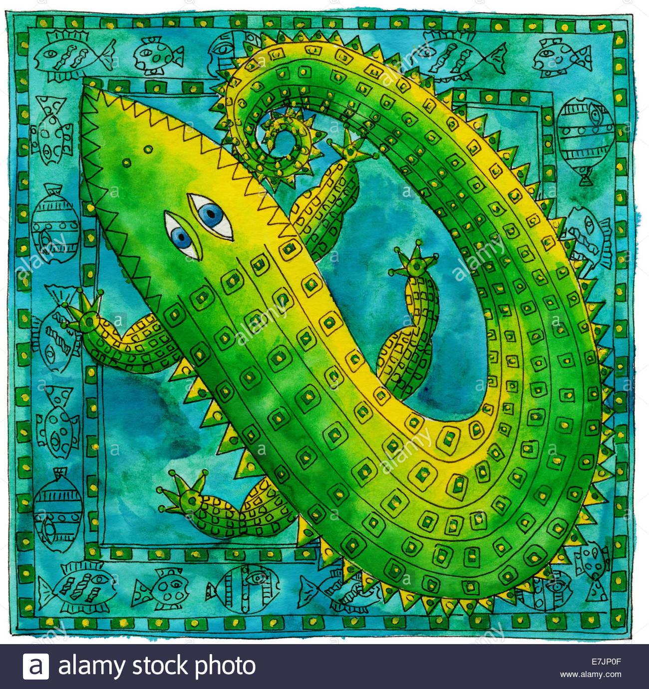 Feder und Tinte Abbildung von einem gemusterten Krokodil mit einem Fisch-Rahmen Stockfoto