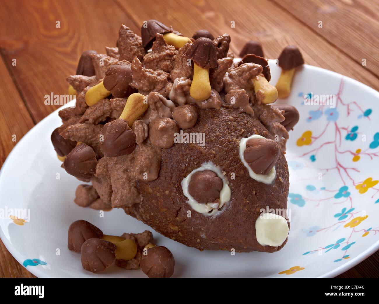 Kinder Schokolade Kuchen Hedgehog Kids Essen Stockfoto Bild