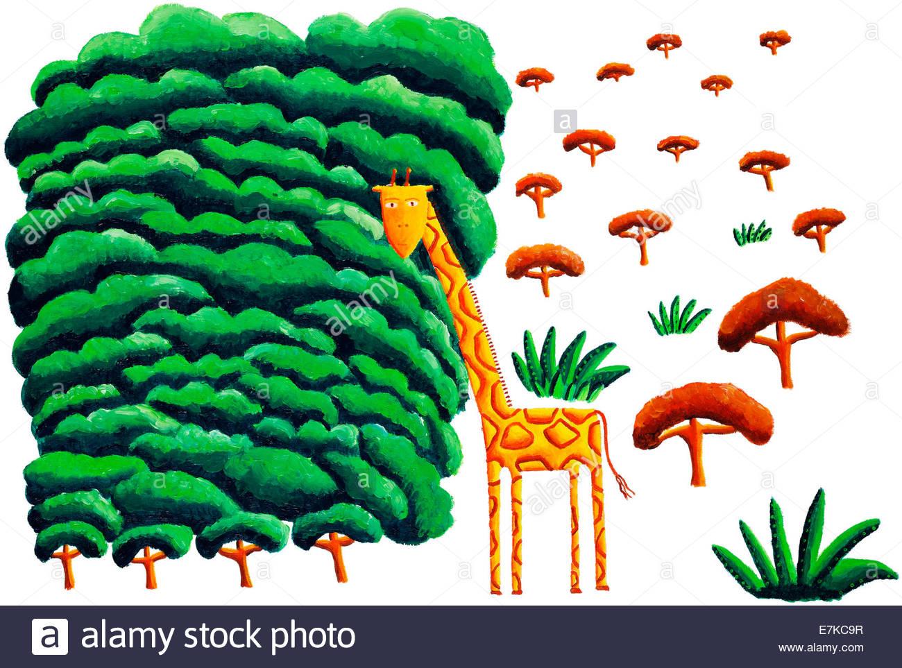 Giraffe und Bäume Stockfoto