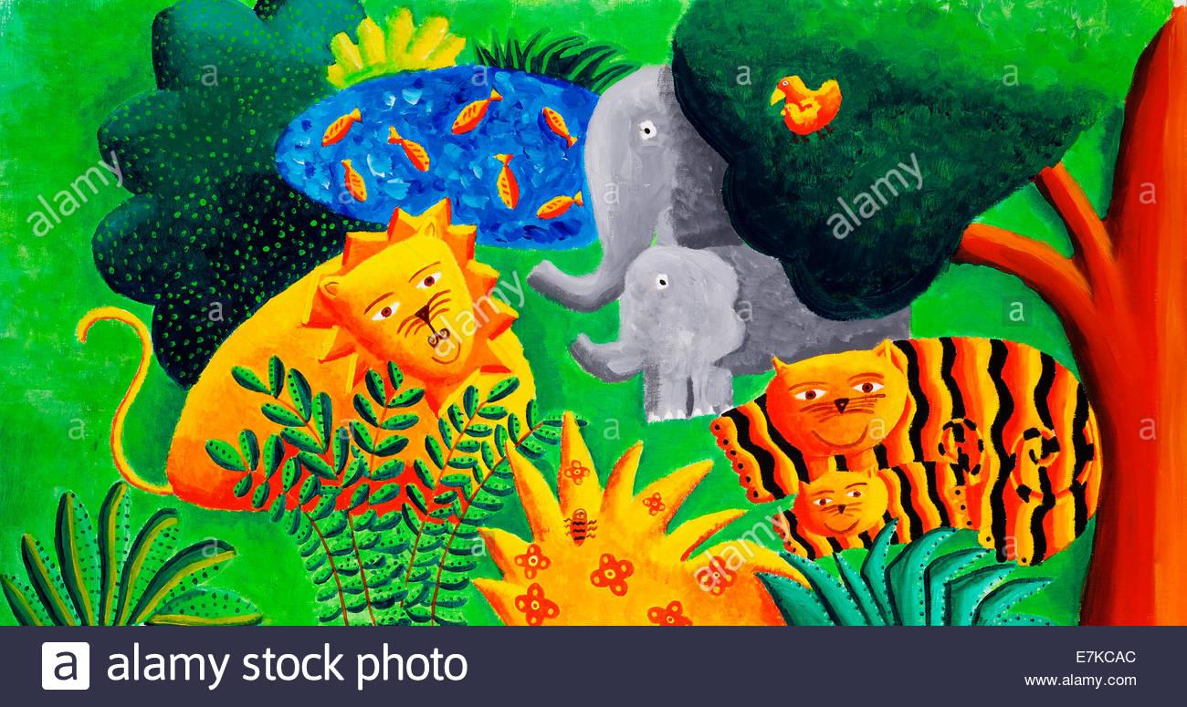 Acryl-Gemälde einer Dschungel-Szene Stockfoto
