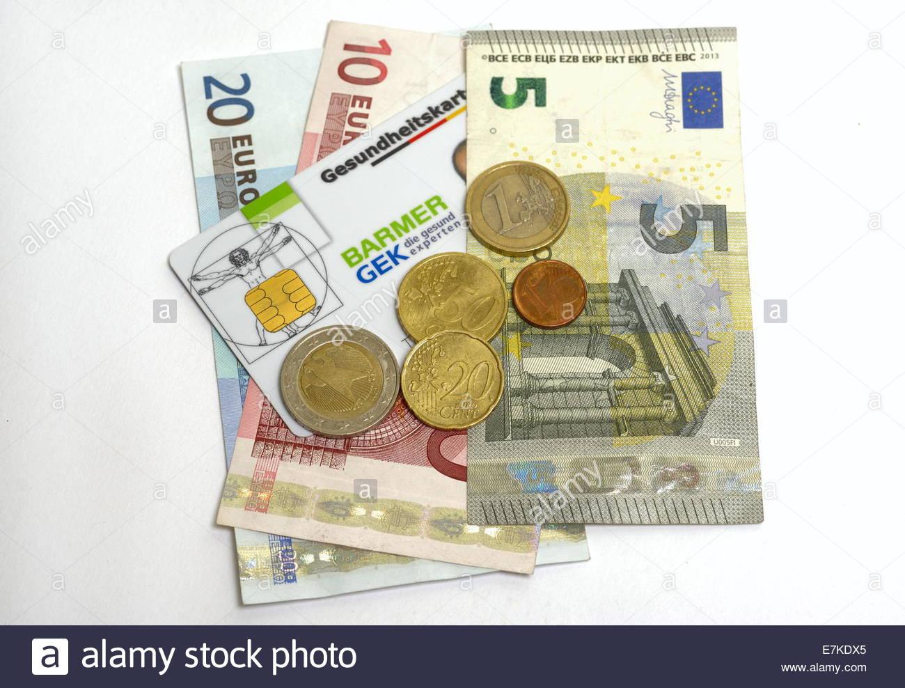 Euro und Gesundheitsversorgung Karte Stockbild