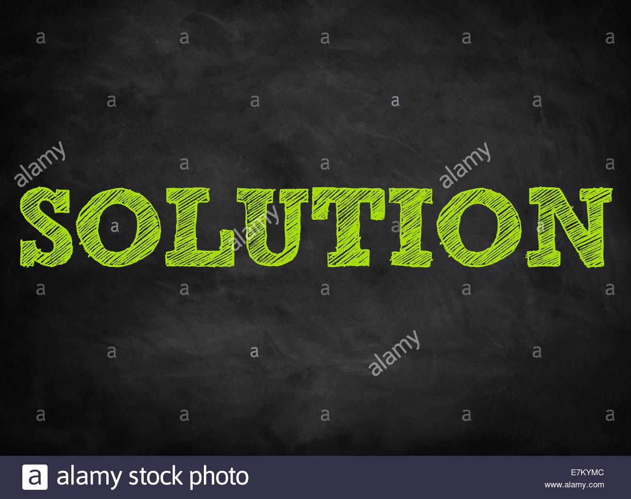 Lösung - Tafel-Konzept Stockbild