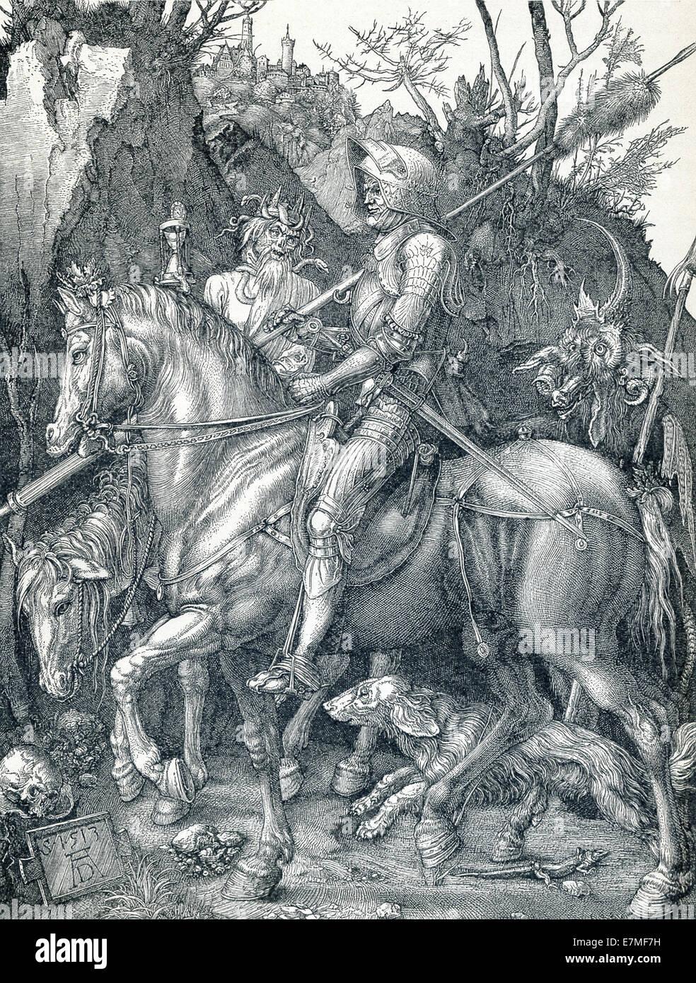 Dieser Holzschnitt aus dem 1513 von Durer Ritter, Tod und Teufel heißt. Durer nannten es The Knight. Stockbild