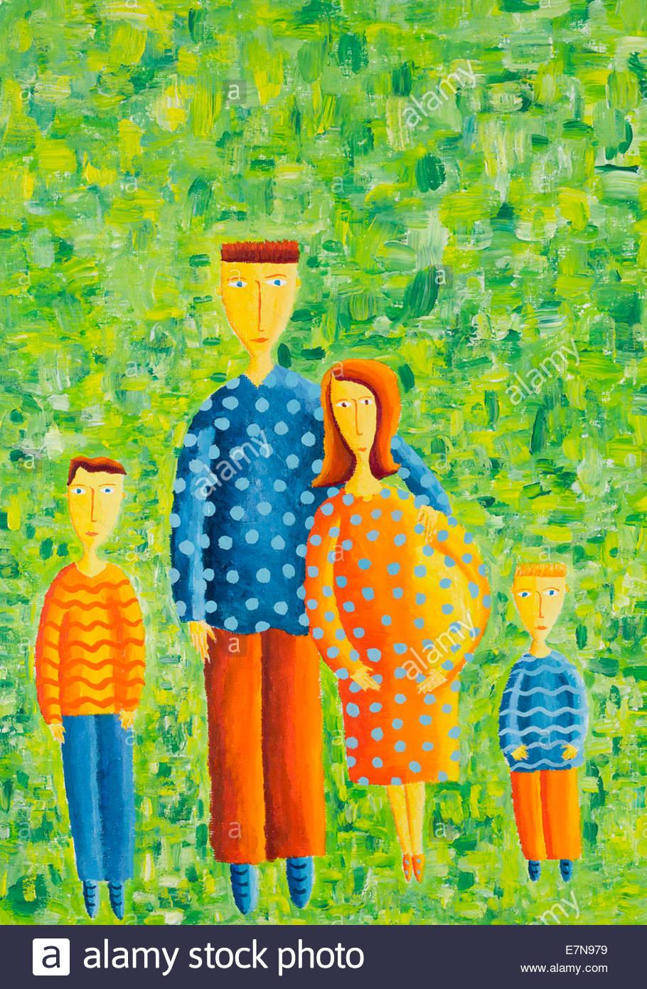 Schwangere Mutter mit Familie Stockbild