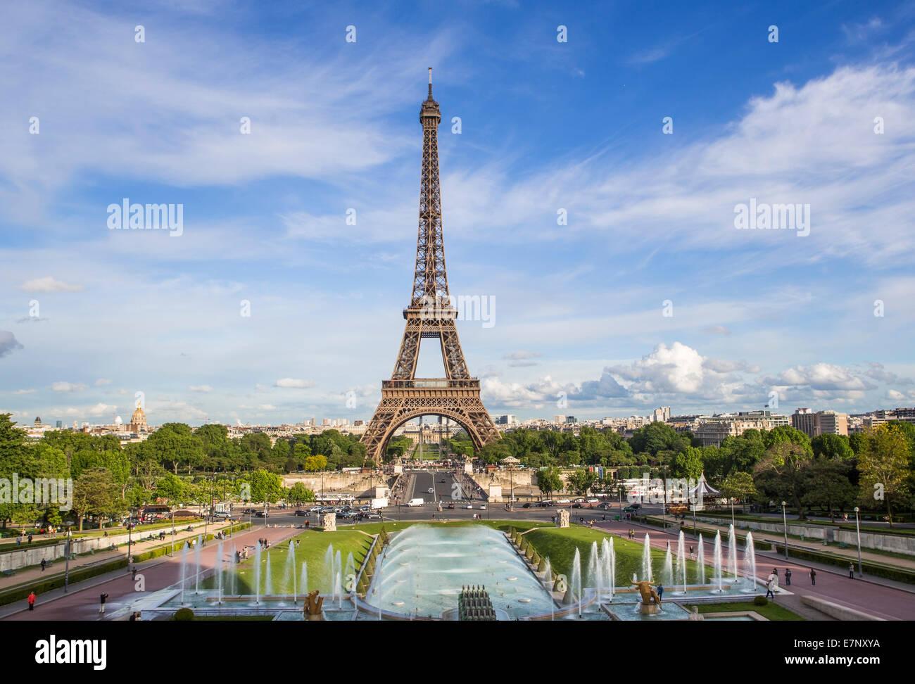 Stadt eiffelturm frankreich paris architektur ber hmte springbrunnen panorama skyline - Beruhmte architektur ...