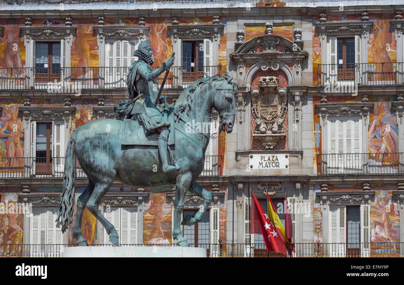 Stadt, Madrid, Bürgermeister, Philip III, Spanien, Europa, Square, Architektur, Innenstadt, Denkmal, Plaza, Stockbild