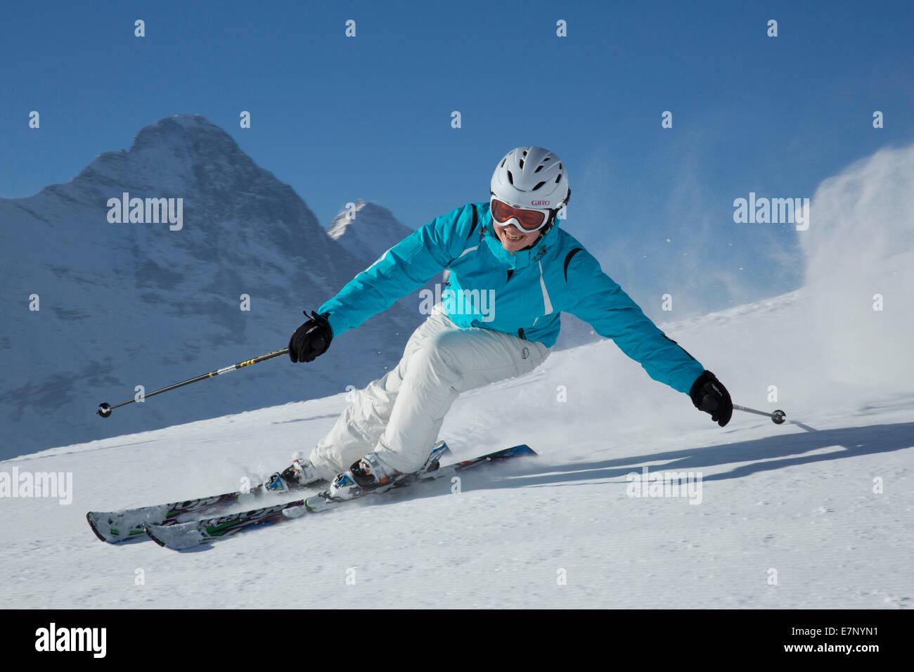 Ski, Skifahren, Grindelwald, Grat, Eiger, Jungfrau, Berg, Berge, Ski, Skifahren, Carving, Winter, Wintersport, Kanton Stockbild