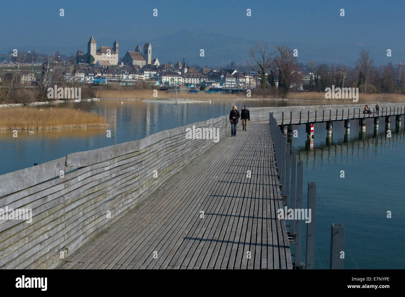 Zürichsee, Jakobs Weg, Holzsteg, Rapperswil SG, Frühling, See, Seen, Stadt, Stadt, SG, Kanton St. Gallen, Stockbild