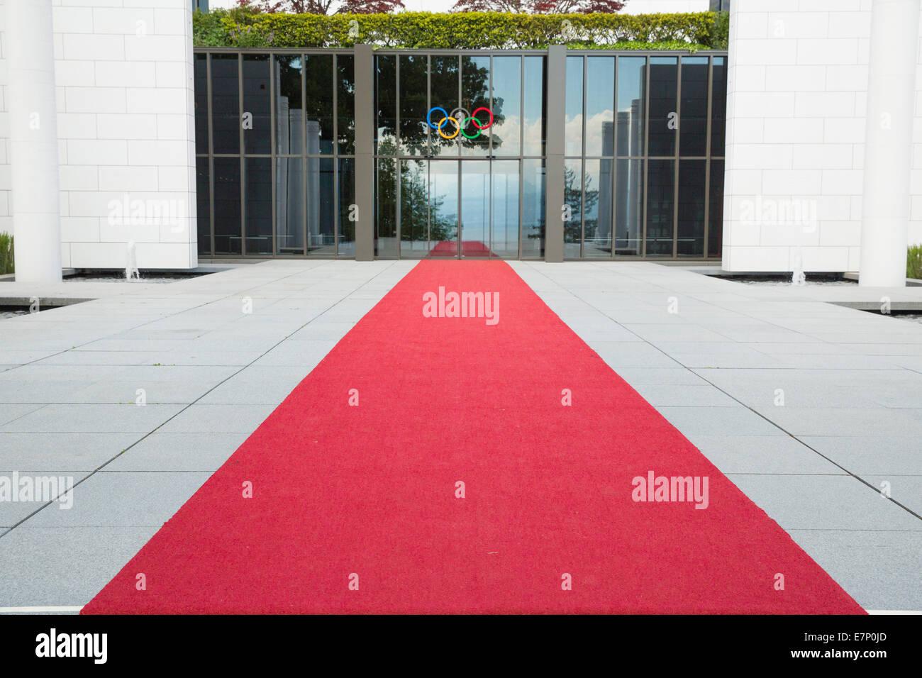 Olympisches Museum Lausanne, Kanton Waadt, westliche Schweiz, Romandie, Sport, VD, roter Teppich, Schweiz, Europa, Stockbild