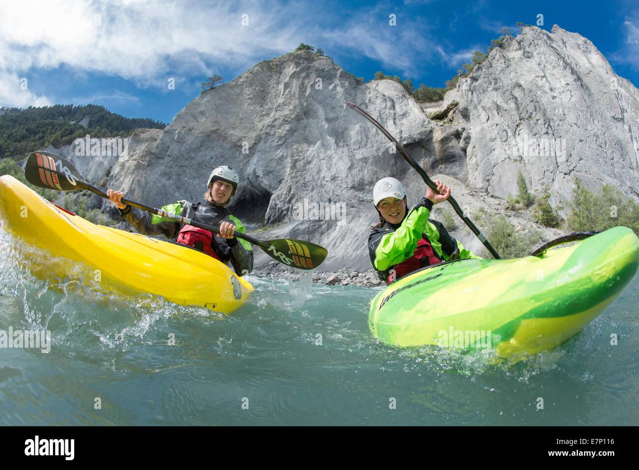 Rhein Schlucht, Wasser sport, Versam, GR, Fluss, Fluss, Körper des Wassers, Wasser, Schlucht, Kanton Graubünden, Stockbild