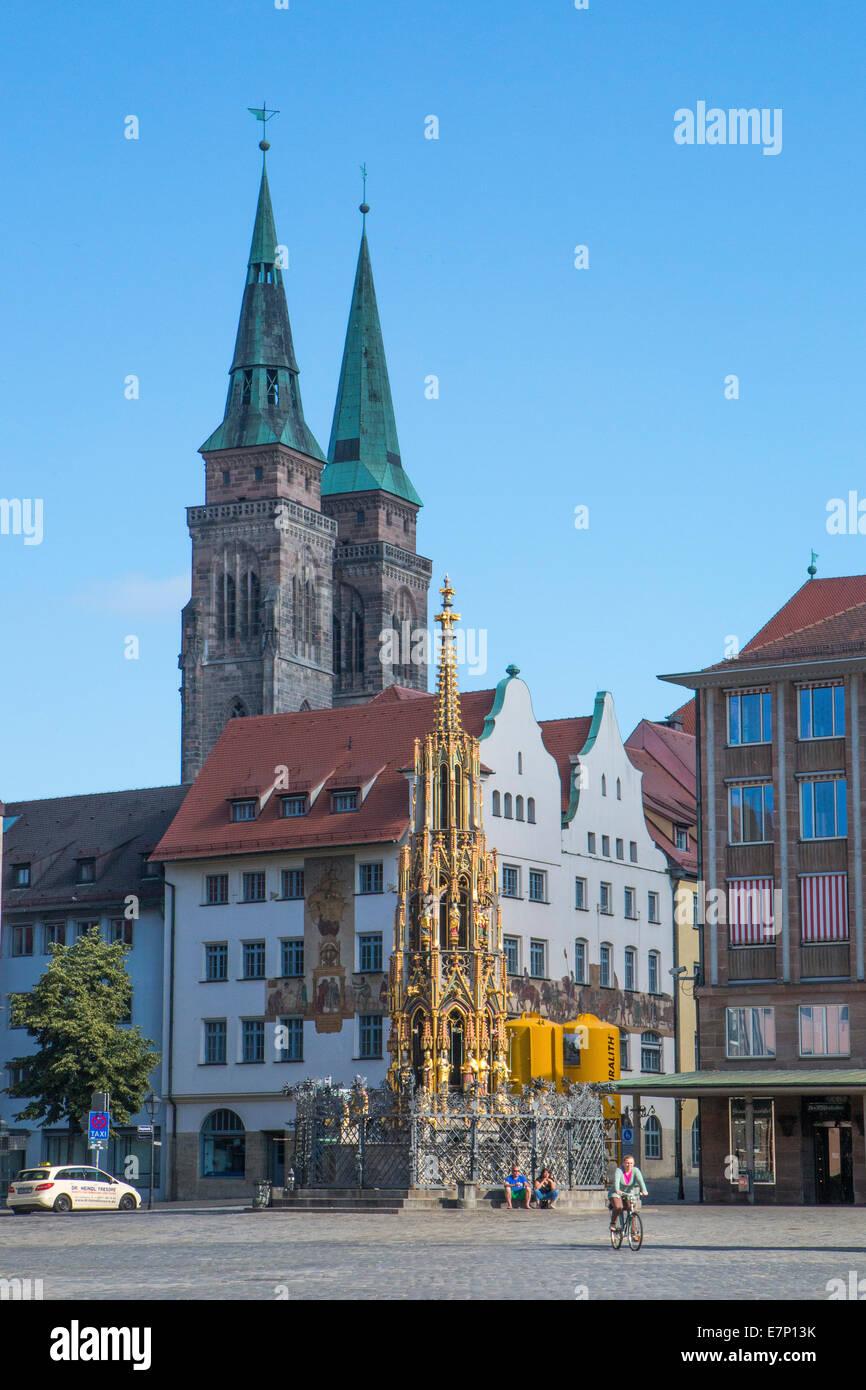 Brunnen, Deutschland, Europa, Nürnberg, Schöner Brunnen, schöner Brunnen, Architektur, Stadt, bunten, Stockbild