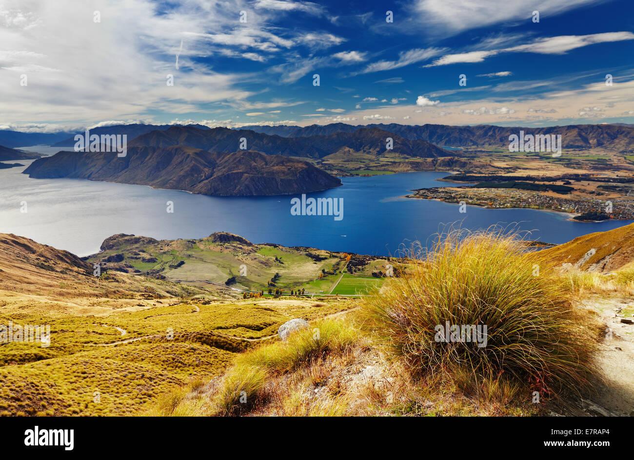 Lake Wanaka, Blick vom Mount Roys, Neuseeland Stockbild