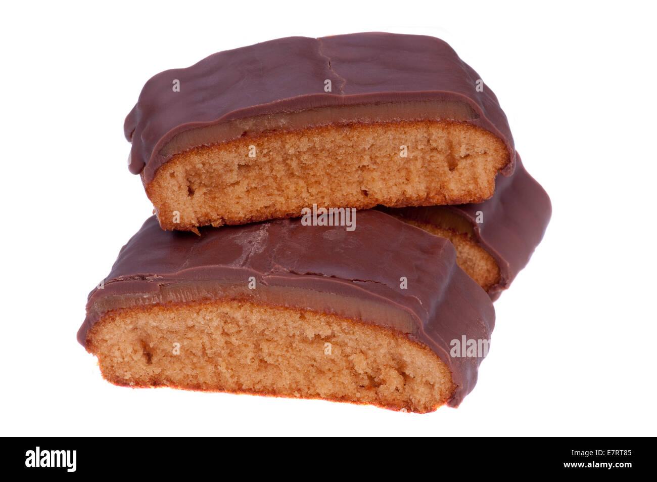 Schokolade, Karamell Kuchenstücke Stockbild
