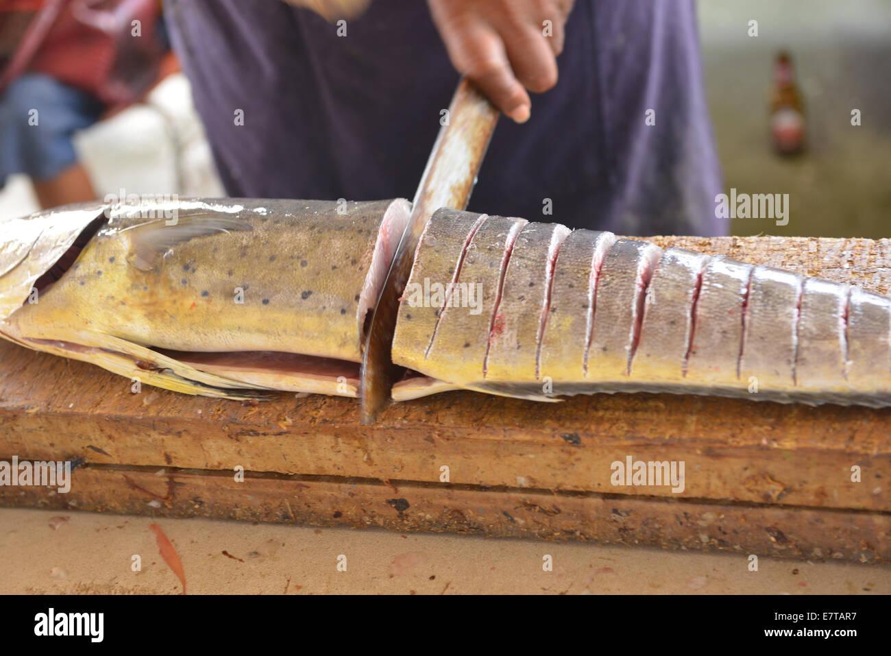 Der schwimmende Markt in Willemstad, Curacao hat eine tägliche Fülle von frisch gefangenen Fisch aus der Stockbild