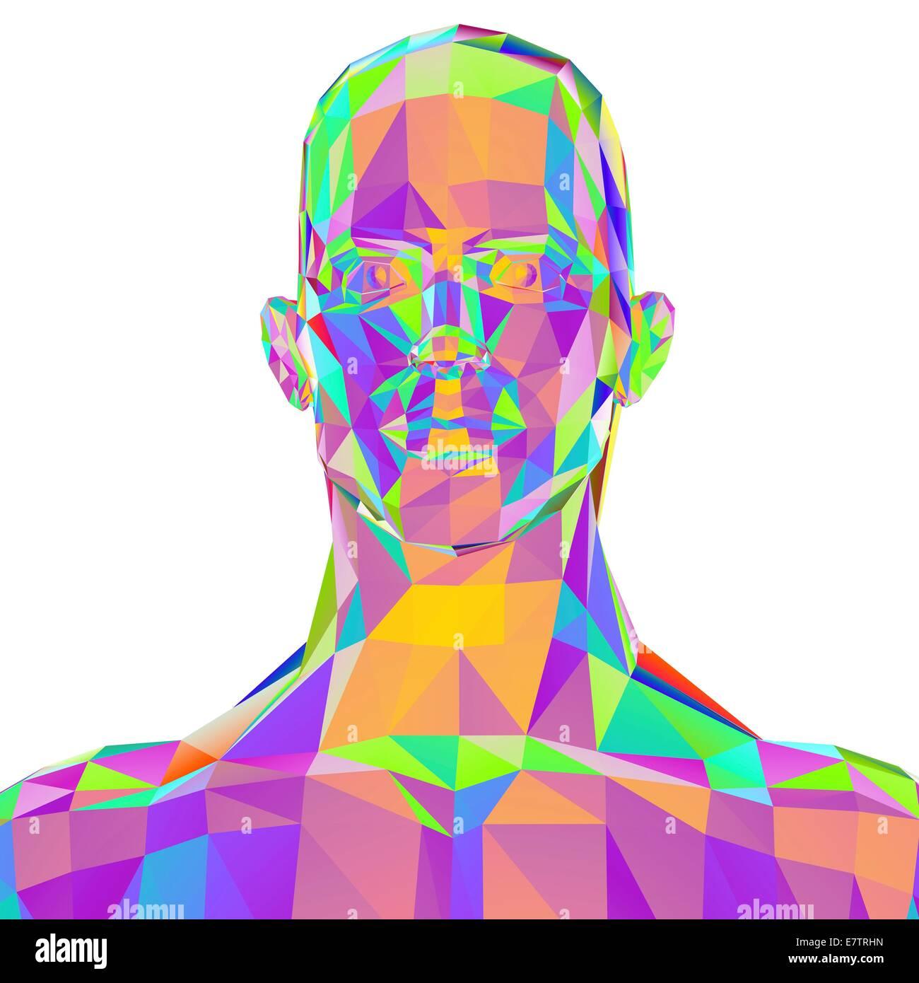 Geometrische abstrakte polygonalen männlichen Kopf, Computer Artwork. Stockbild
