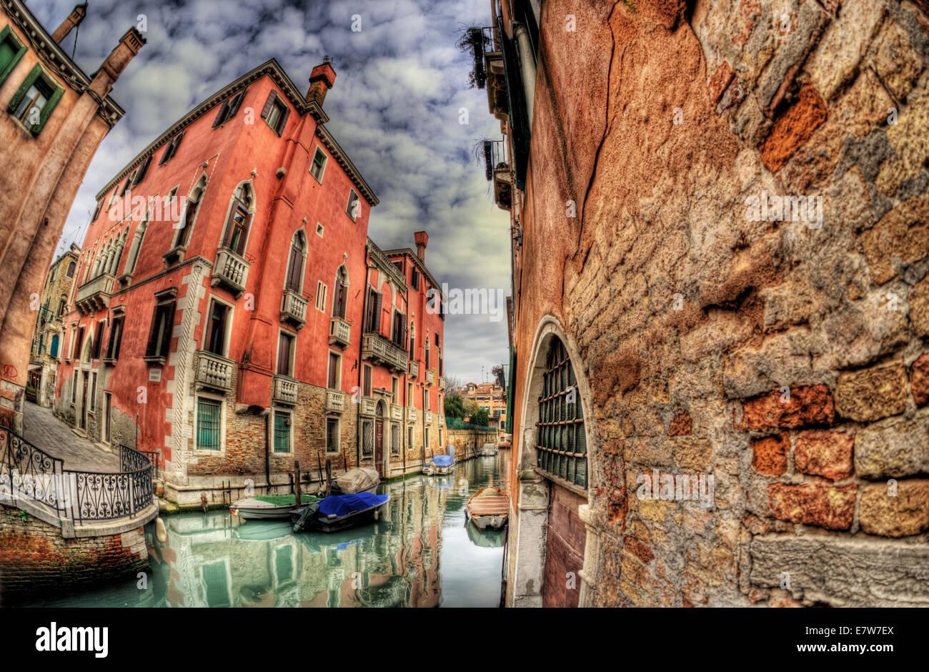 Die Kanal-Szene, Venedig. Ein High-Dynamic-Range (HDR), Bild. Stockbild