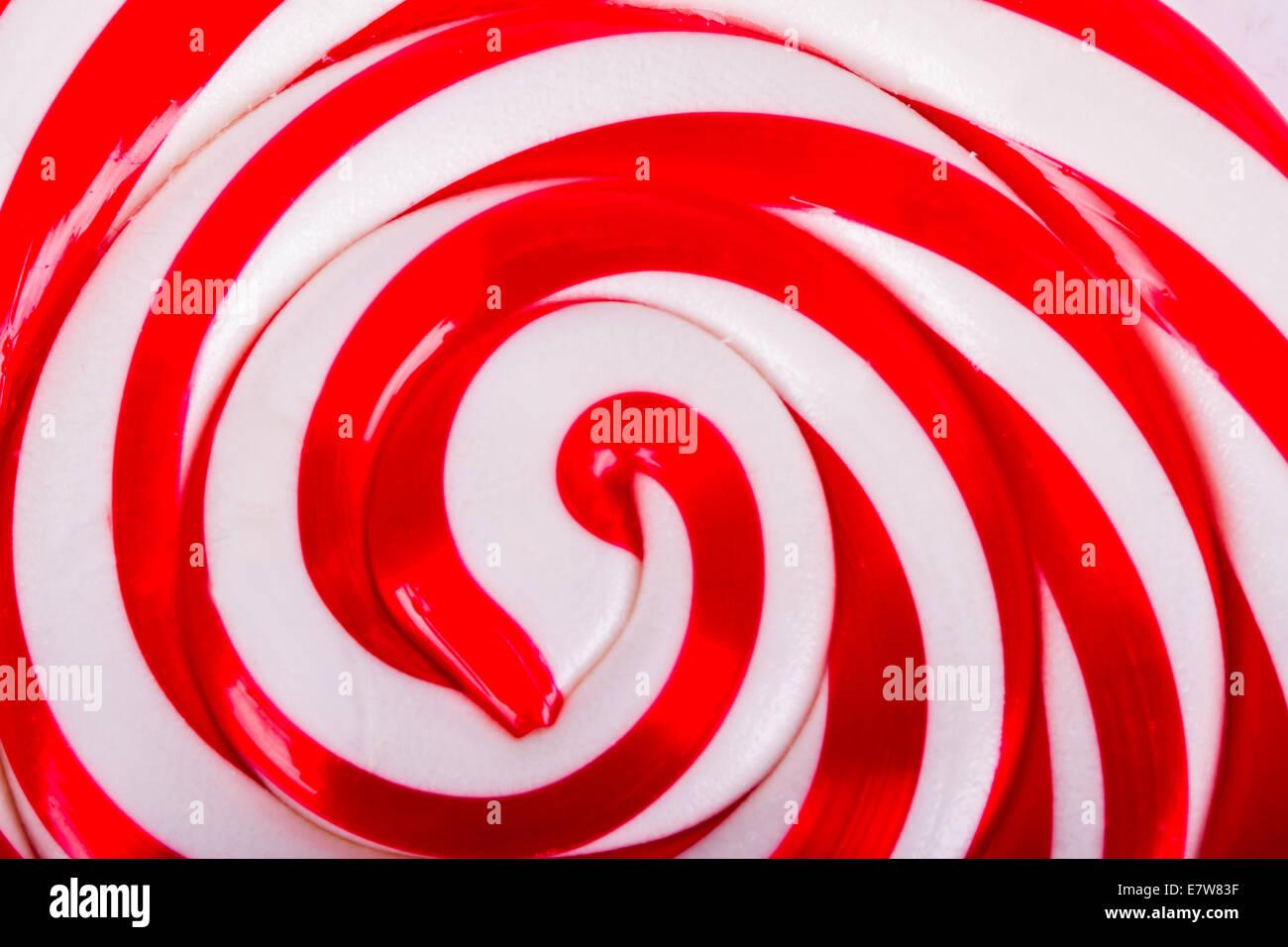 Rote und weiße Spirale Lutscher Süßigkeit als Hintergrund ...