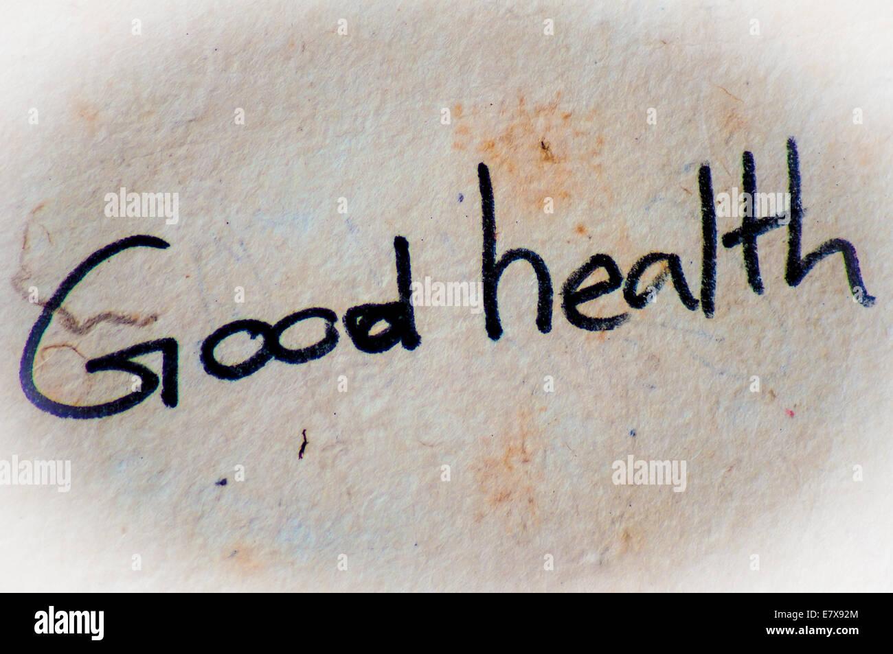 Gute Gesundheit Wort Auf Einem Alten Papierhintergrund Stockfoto