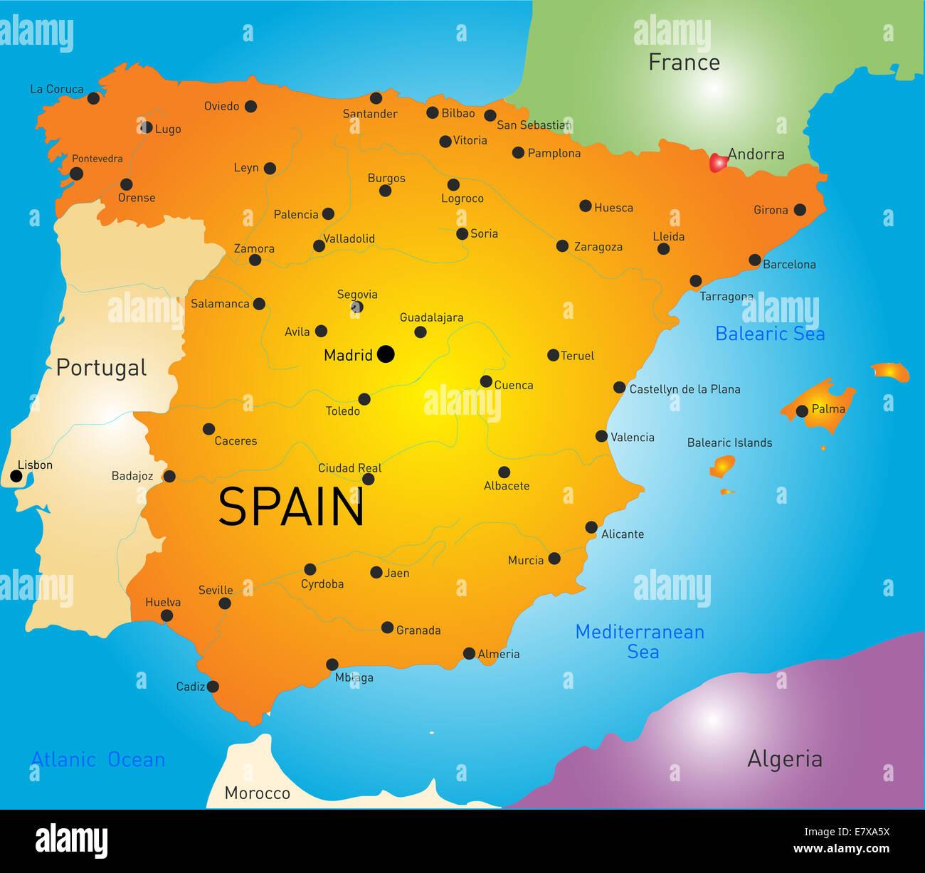 Spanien Karte Stockfoto Bild 73722822 Alamy