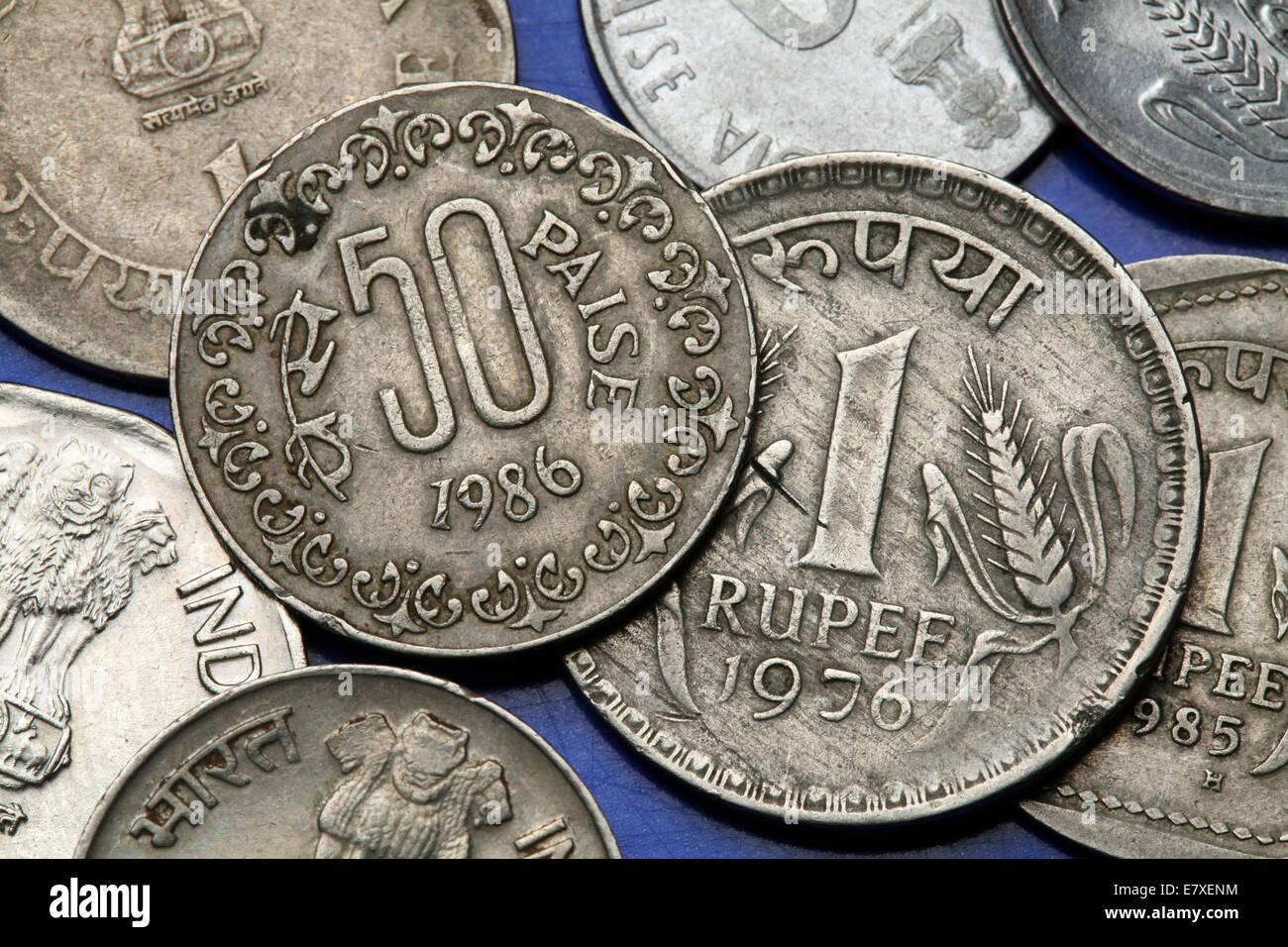 Münzen Von Indien Indische Eine Rupie Und 50 Paise Münzen Stockfoto