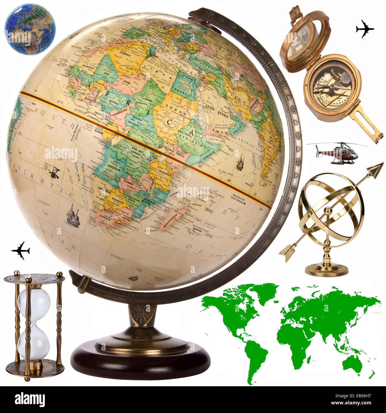 Landkarte, Globe und Reisen Objekte für Ausschnitt Stockbild