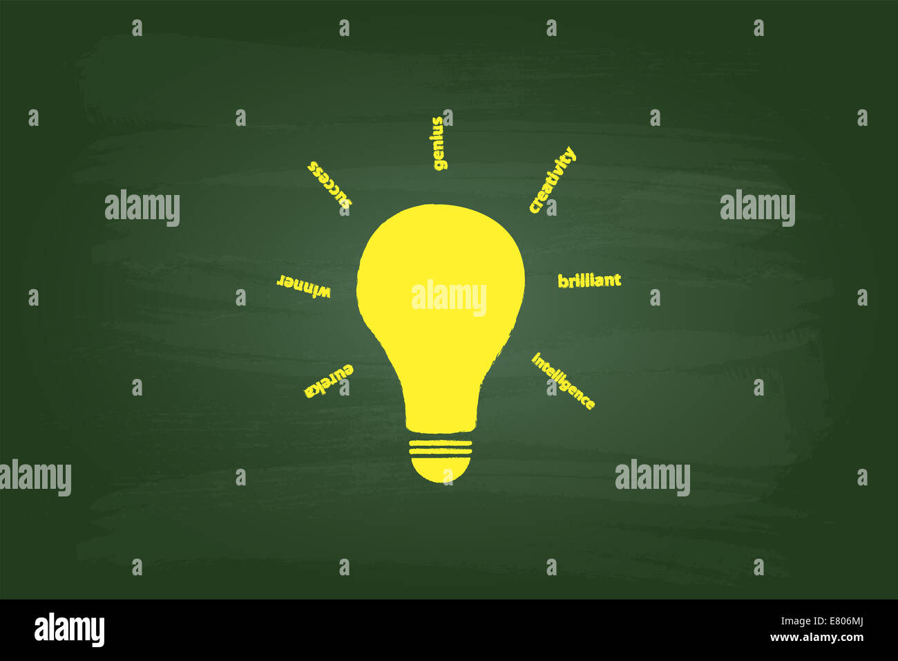 Beste Idee Glühbirne Konzept an grüne Tafel Stockfoto