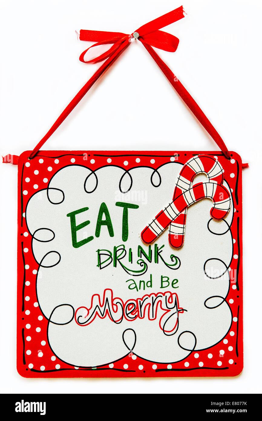 Essen trinken und sein fröhliches Dekoration Ornament Stockbild