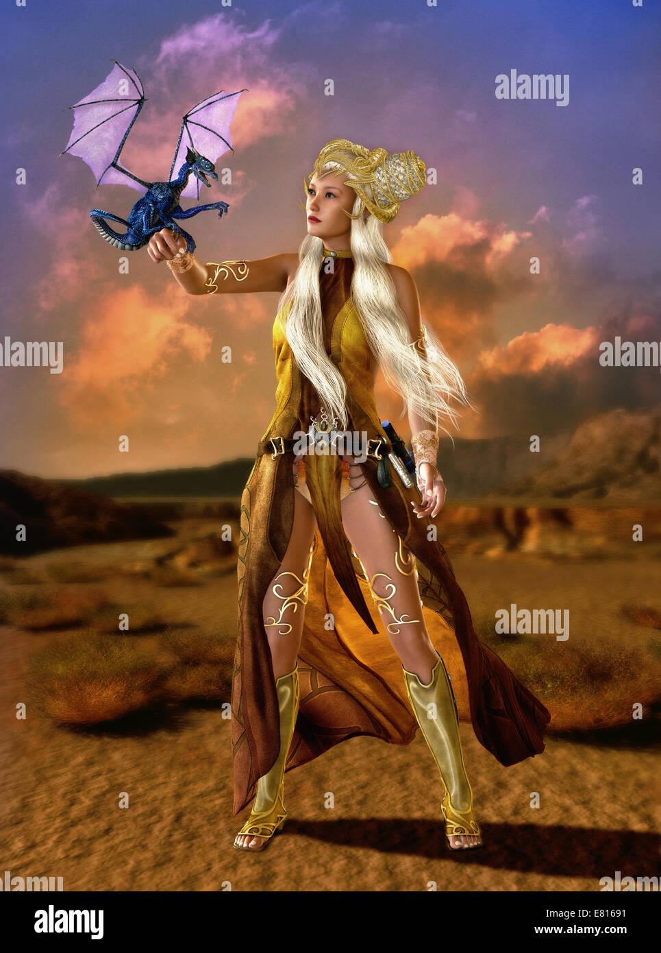 Dame mit Phantasie Frisur und Fantasy Kleidung mit einem Drachen Cub auf dem arm Stockbild