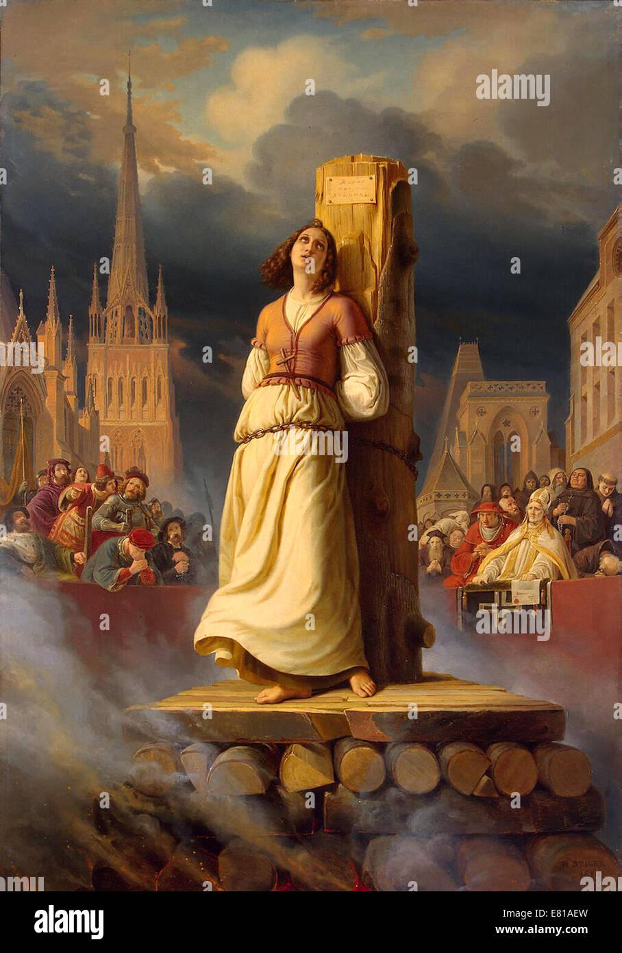 Jeanne d ' Arc, Joan of Arc Tod auf dem Scheiterhaufen Stockfoto