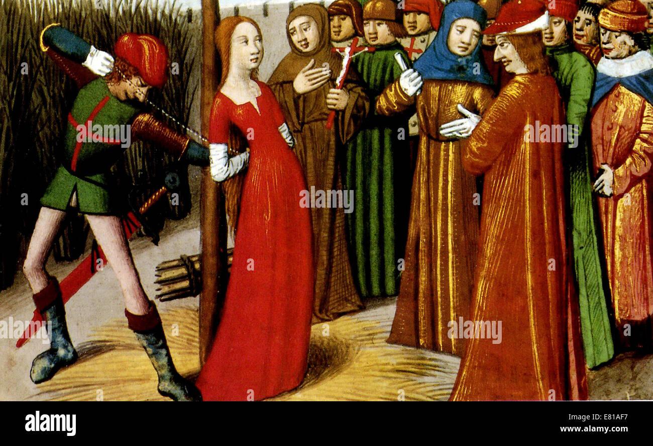 Jeanne d ' Arc, Joan of Arc Tod auf dem Scheiterhaufen Stockbild