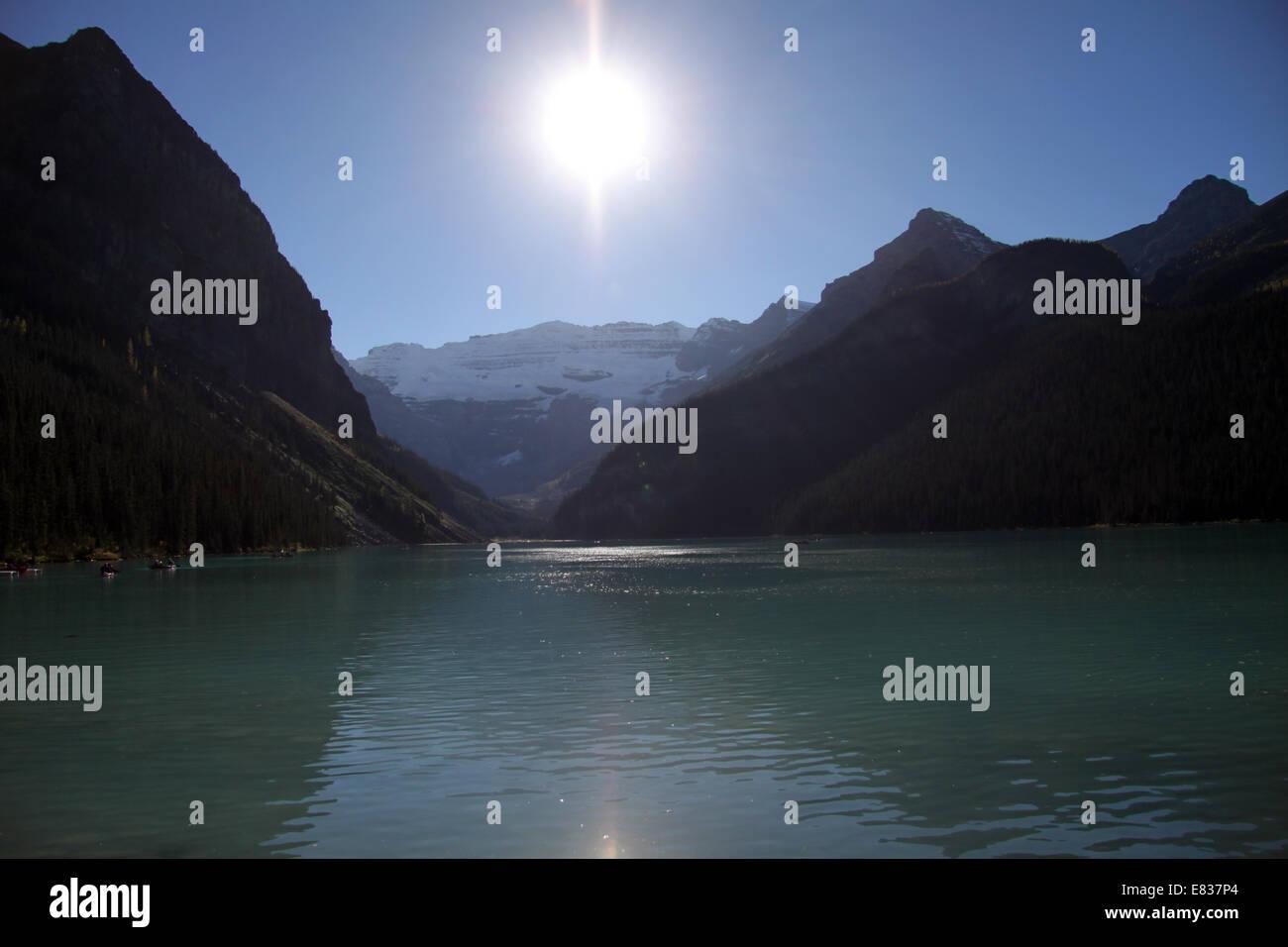 Lake Louise in der Nähe von Banff, Alberta, Kanada Stockbild