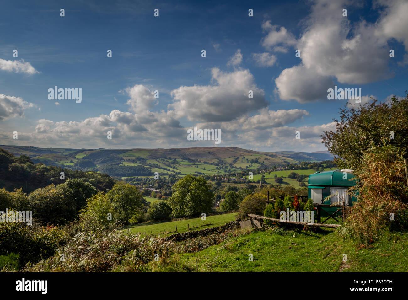 Alternative Unterkünfte - eine Ansicht mit einem Raum, Derbyshire, UK Stockbild