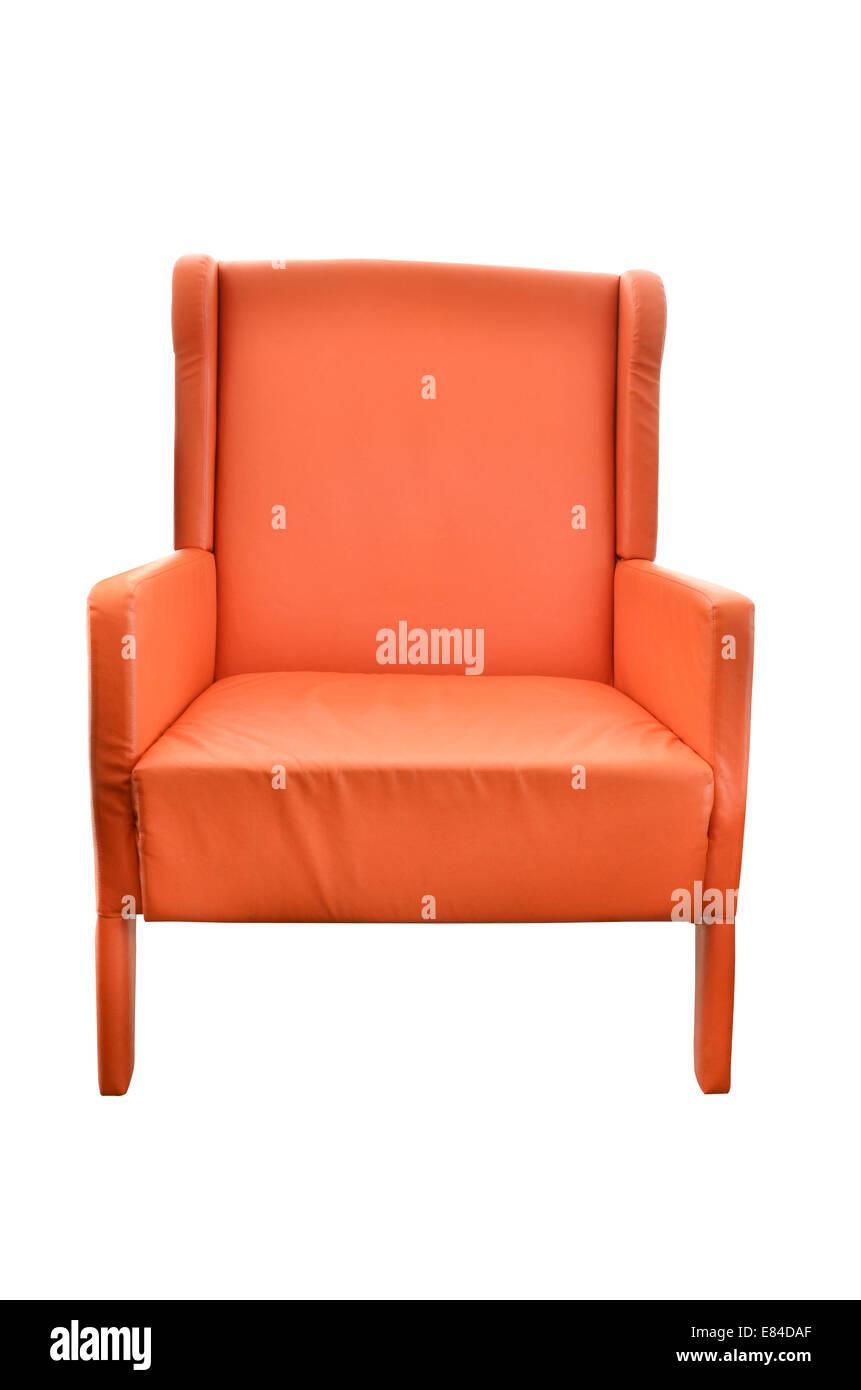 Stuhl aus Leder orange isoliert Stockbild
