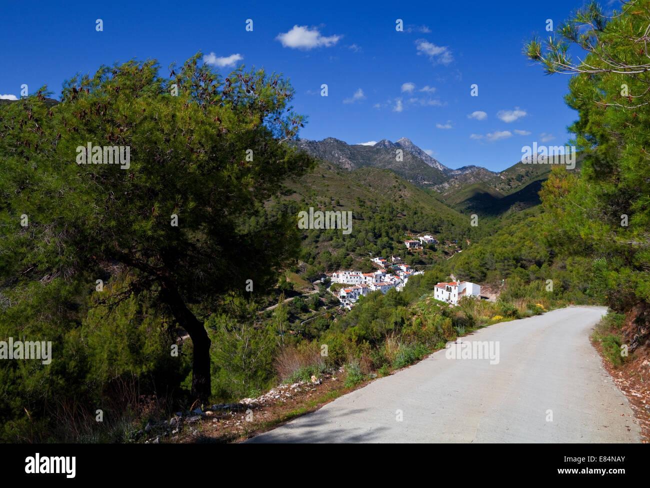 """Der Weg nach El Acebuchal ? """"Lost oder Geisterdorf"""" In den Bergen bei Frigiliana, Costa Del Sol, Provinz Stockbild"""