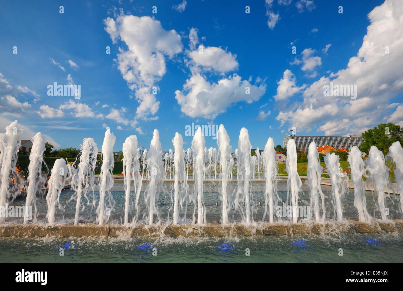 Zagreb-Wasser-Brunnen Stockbild