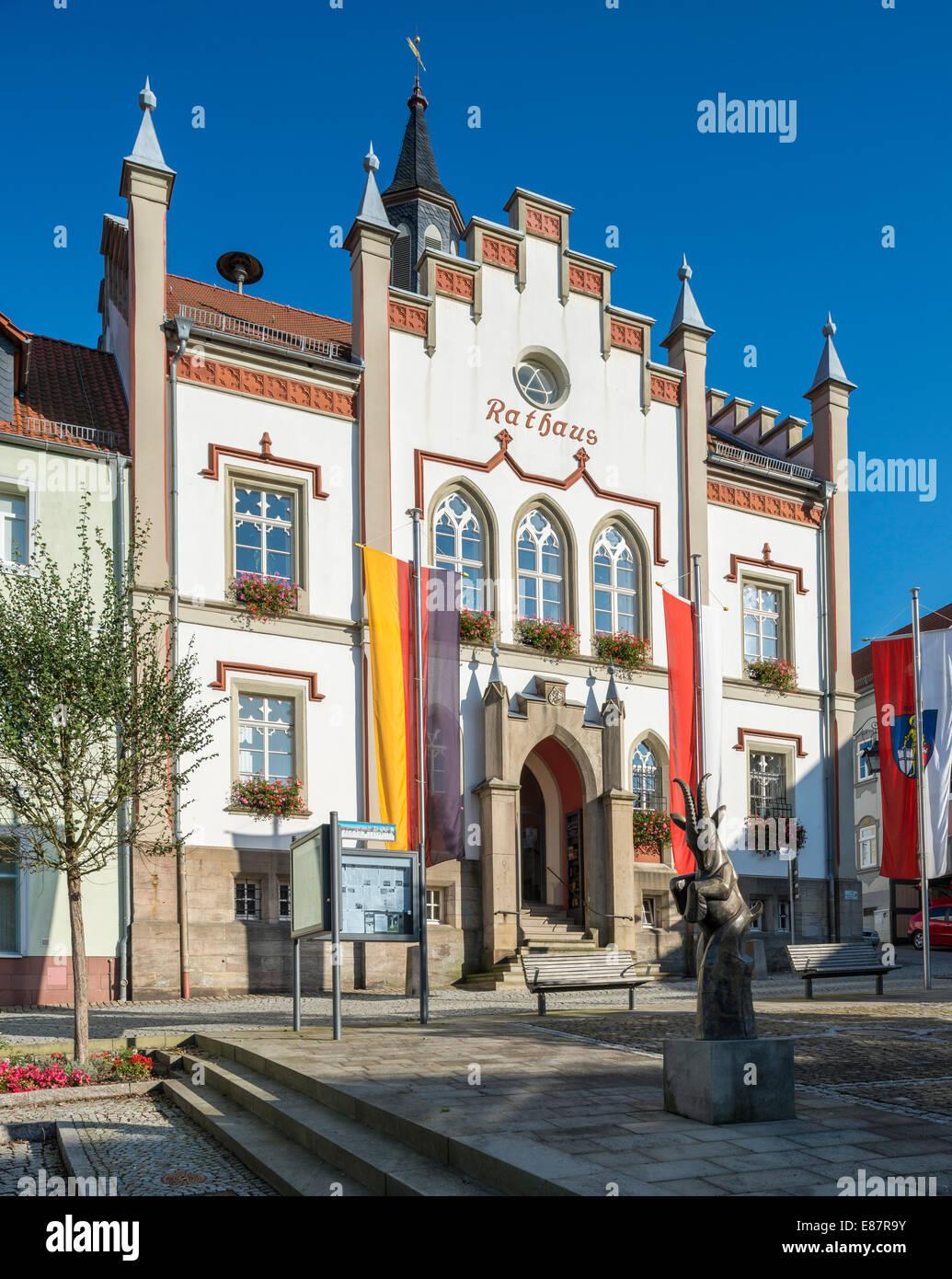 Rathaus von Geisa, 1861, Neugotik, Geysa, Rhön Berge, Thüringen, Deutschland Stockbild