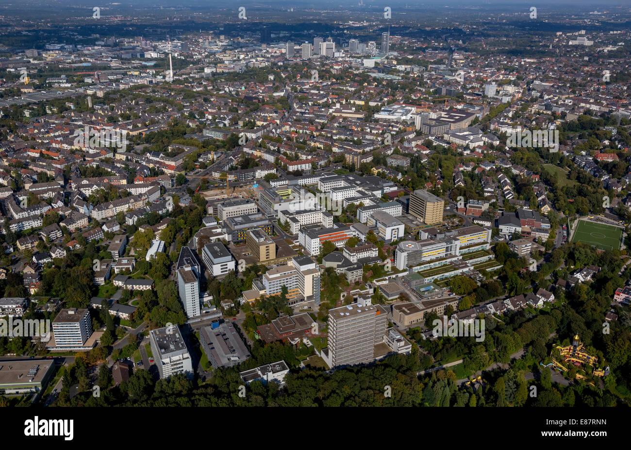 Luftaufnahme, Universitätsklinikum Essen, Essen, Ruhrgebiet, Nordrhein-Westfalen, Deutschland Stockbild