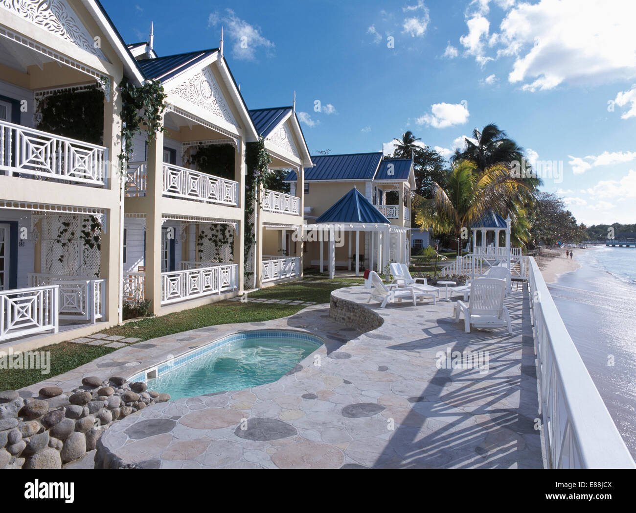 kleiner pool auf gepflasterten terrasse vor großen haus mit