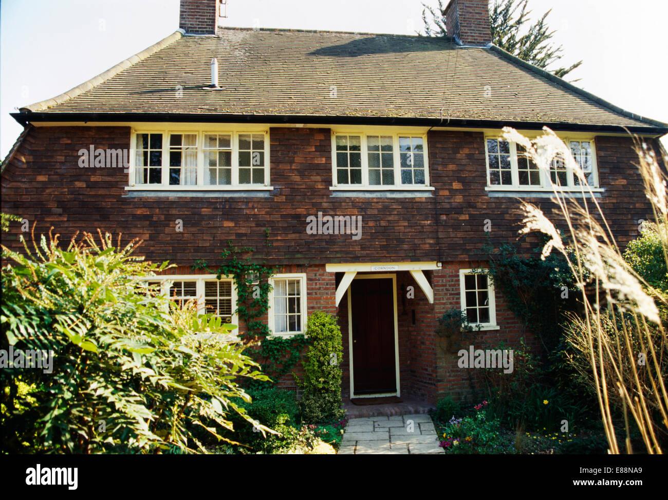 Dreißiger Jahre traditionelle gemauerte Haus auf dem Land Stockbild