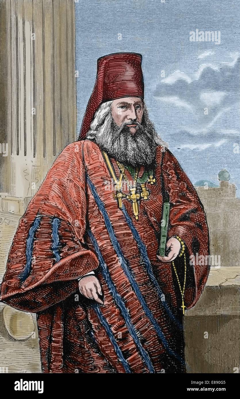 Europa. Östliche orthodoxe Kirche. Griechisch-orthodoxen Geistlichen, 1870. Gravur. Spätere Färbung. Stockbild