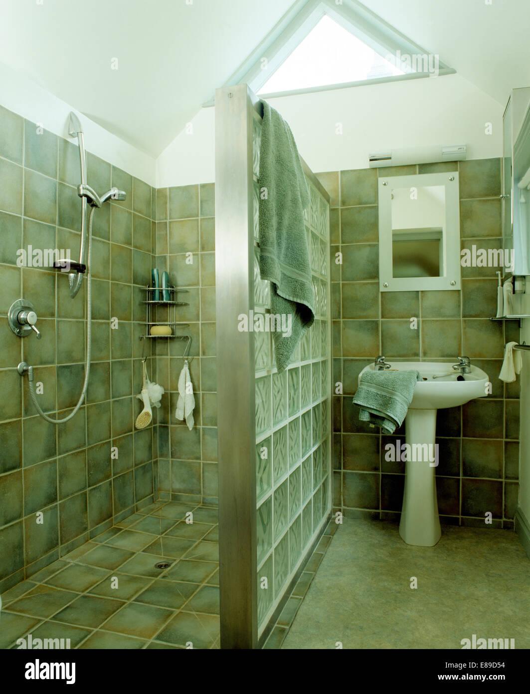 Glasbaustein Trennwand zwischen Dusche und Waschbecken im modernen ...