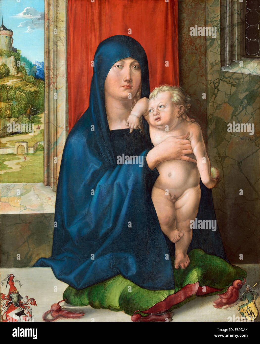 Albrecht Dürer (Deutsch, 1471-1528), Madonna und Kind [Vorderseite], c. 1496/1499, Öl auf Holz Stockbild