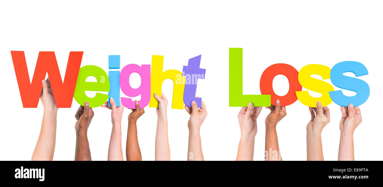 Multiethnische Arme angehoben Holding Texte Weight Loss Stockbild