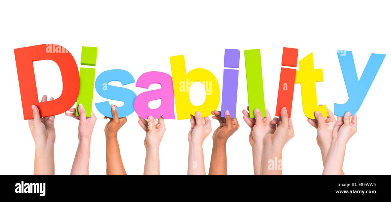 Gruppe von multiethnischen Händen mit Behinderung Stockbild