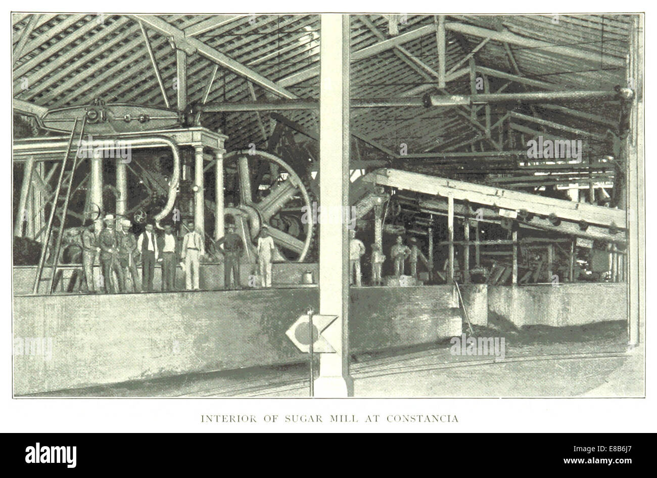 Clark(1899) Kuba p283 - INTERIEUR von A SUGAR MILL in CONSTANCIA Stockbild