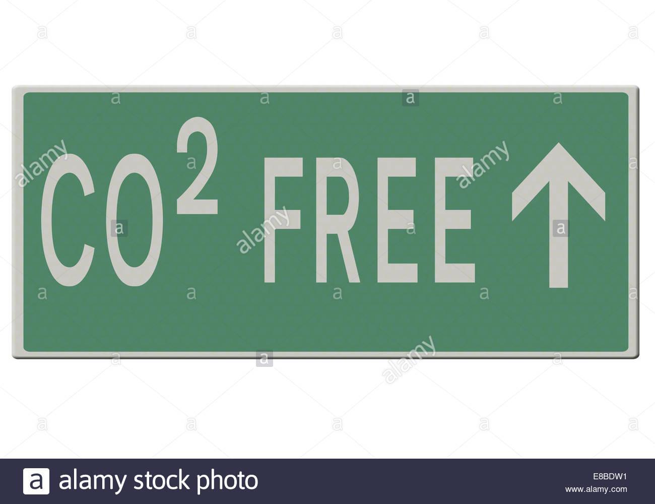 Digitale Illustration - Straßenschild - CO2-freie Zukunft. Stockbild