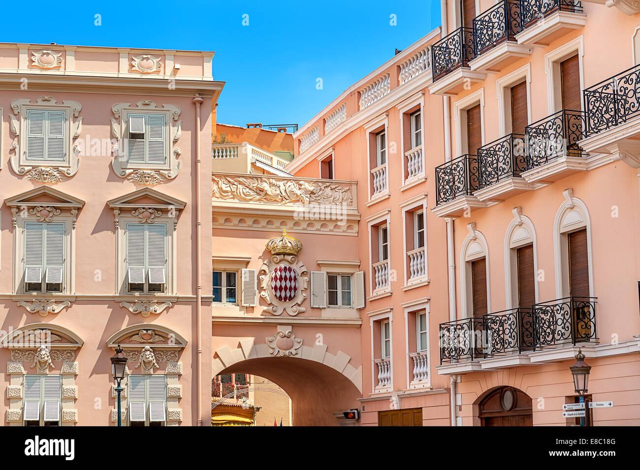 Typische Architektur in Monaco-Ville, Monaco. Stockbild