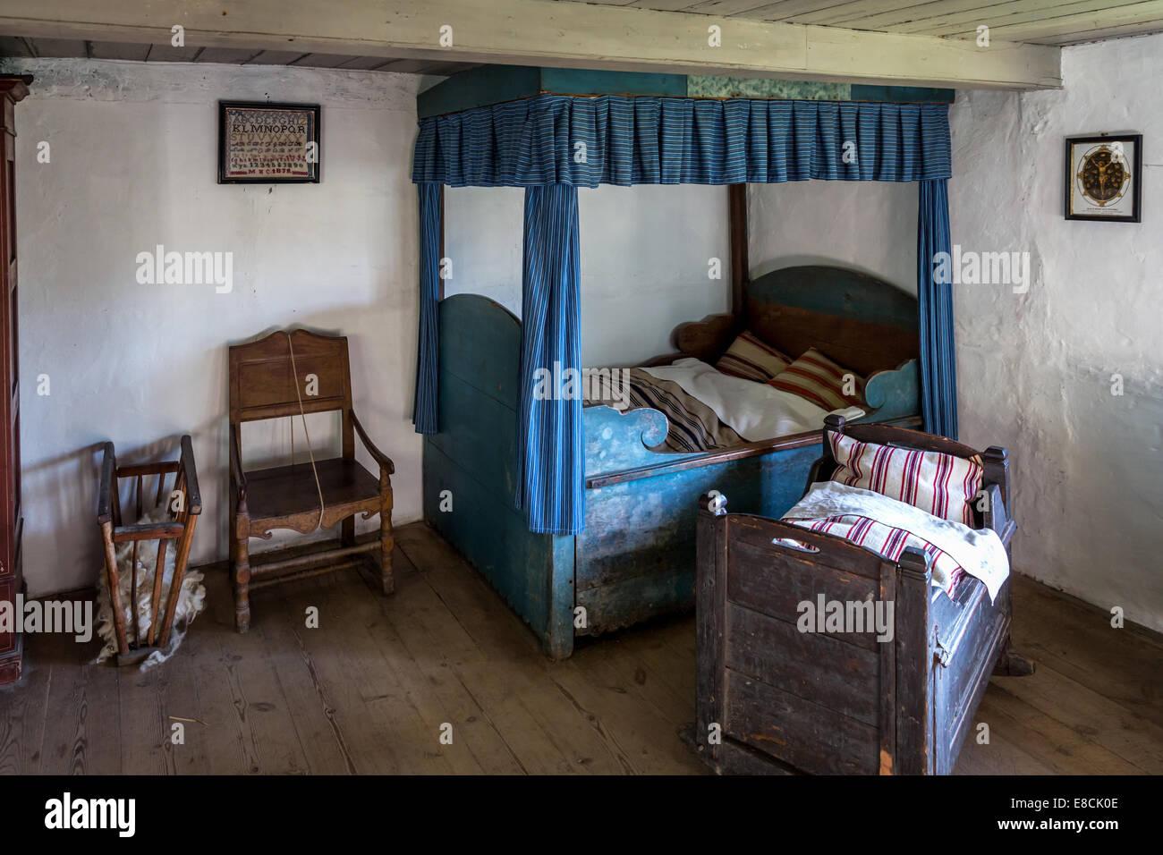 Altes Schlafzimmer, Open Air Museum, Lyngby, Copenhagen und Umgebung ...