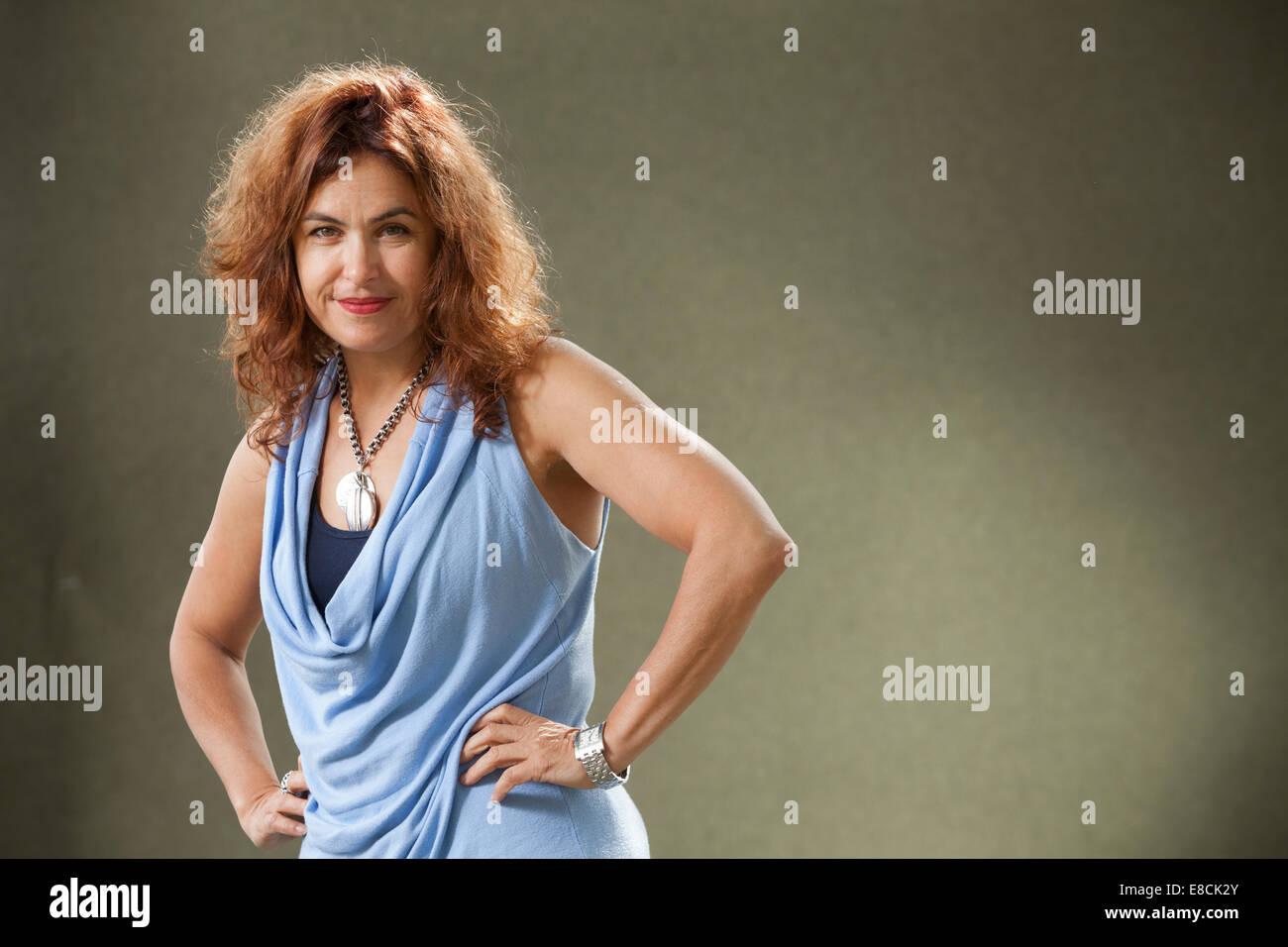 Selma Dabbagh, britische palästinensische Autor von Romanen, an der Edinburgh International Book Festival 2014. Stockbild